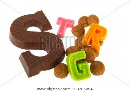 Chocolate letter and pepernoten for Dutch Sinterklaas holidays