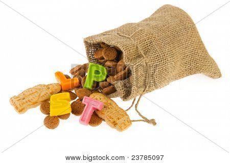 Fallen jute candy bag with pepernoten for Dutch Sinterklaas