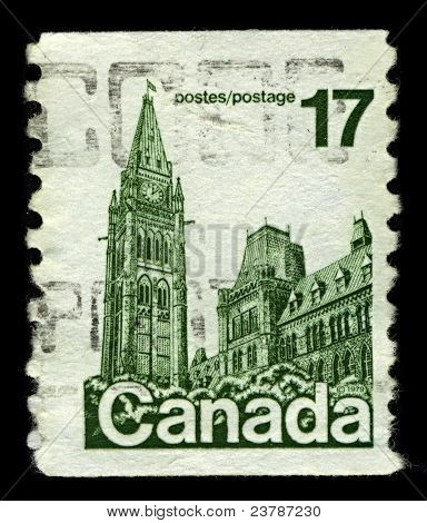 CANADA-CIRCA 1979:A stamp printed in CANADA shows image of the Parliament of Canada  is the federal legislative branch of Canada, seated at Parliament Hill in the national capital, Ottawa, circa 1979.
