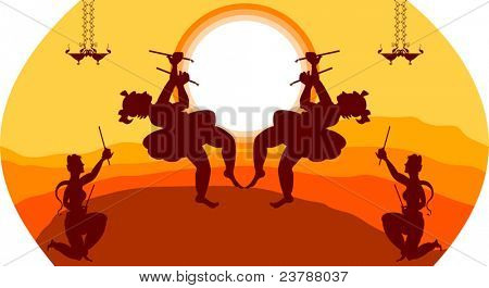 Shadow art graba dancer in sun set