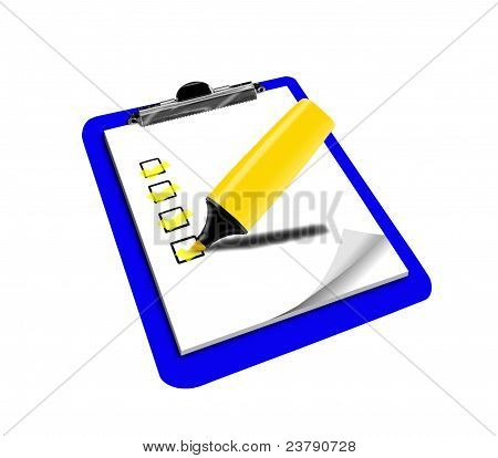 Clipboard And Tick Box Highligted