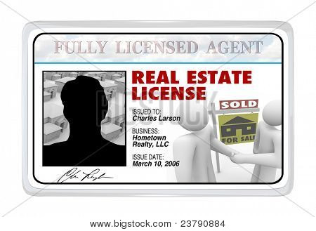 A laminated identification I.D. card or for a real estate license that a buying or selling professional would use to prove his credentials and certification to do business