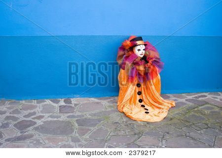 Orange Clown - Blue Wall
