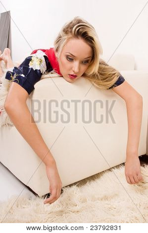 Sexual Pretty Girl Lying On Sofa