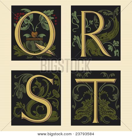 Sixteenth-Century alphabet Q R S T in editable vector file