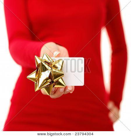 Gift Card - Frau zeigt Zeichen