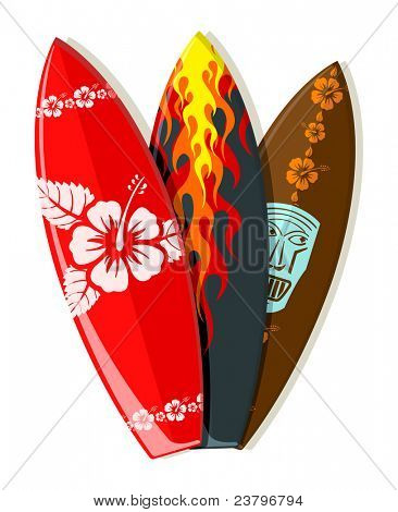 Jpeg version of surf boards with Hawaiian patterns