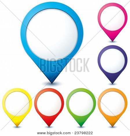 Set of colorful map pionter icons