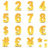 3D illustration set of golden numbers and currency symbols over white background with clipping path  poster