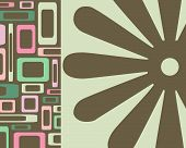 Retro Green, Pink And Brown Squares And Flowers Collage