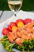 Grilled Shrimps And White Wine Outdoor poster