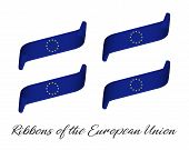 Set Of Four Modern Colored Vector Ribbons In The Color Of The European Union Isolated On White Backg poster
