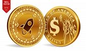 Stellar. Dollar Coin. 3d Isometric Physical Coins. Digital Currency. Cryptocurrency. Golden Coins Wi poster