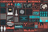 Flat Interface In The Style Of A Cartoon Hud. Infographic, Data, Technology Elements In The Style Ui poster