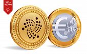 Iota. Euro Coin. 3d Isometric Physical Coins. Digital Currency. Cryptocurrency. Golden Coins With Io poster