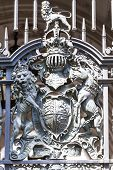 Royal Coat Of Arms Of The United Kingdom On The Metal Gate, London, United Kingdom. It Is The Offici poster
