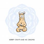 Cute Meditating Furry Llama. Vector Cartoon Illustration On A White Background With Motivational Let poster