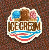 Vector Logo Of Italian Ice Cream, Cut Paper Sign With Scoop Ball Sundae In Wafer Cap, Eskimo Pie In  poster