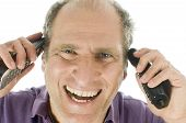 image of rep  - happy handsome very busy middle age senior man business service rep excited talking on two telephones at same time - JPG