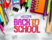 Back To School Vector Background Design With School Elements, Colorful Education Supplies And White  poster