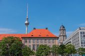 Berlin City, Germany, Europe. Cityscape With Tv Tower. View Of Berlin Skyline In Sunny Summer Day. C poster