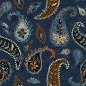 Seamless Background Pattern. Imitation Of A Texture Of Rough Canvas Painted With Paisley. poster