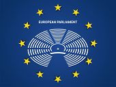 Symbol Of The European Parliament Against The Background Of The Flag Of The European Union poster