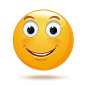 Cheerful Smiling Smiley. Happy Smiley Emoticon Face. Positive Smiling Ball. Vector Illustration Isol poster