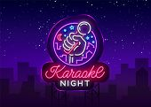 Karaoke Night Vector. Neon Sign, Luminous Logo, Symbol, Light Banner. Advertising Bright Night Karao poster