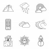 Weather Watch Icons Set. Outline Set Of 9 Weather Watch Vector Icons For Web Isolated On White Backg poster