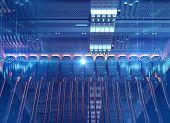 Ethernet Network Cables Connected To Internet Server 3D Illustration poster