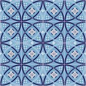 stock photo of ceramic tile  - Seamless vector illustration tile pattern of ancient ceramic tiles - JPG