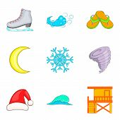 Temperate Climate Icons Set. Cartoon Set Of 9 Temperate Climate Vector Icons For Web Isolated On Whi poster