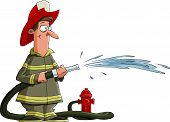 stock photo of firehose  - Firefighter pours from a fire hose vector - JPG