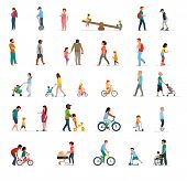 Crowd Of People Performing Summer Outdoor Activities - Walk, Riding Bicycle, Skateboarding. Group Of poster