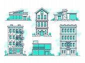 Contemporary Urban And Suburban Houses Line Icons Set. Real Estate Outline Symbols. Building Home Co poster