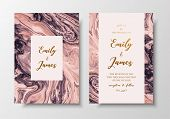 Vector Modern Design Wedding Invitation. Liquid Colors Greeting Cards With Golden Text. Save The Dat poster