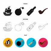 Pirate, Bandit, Ship, Sail .pirates Set Collection Icons In Black, Flat, Outline Style Vector Symbol poster
