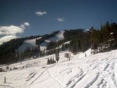 image of amtrak  - Ski run photographed from window of Amtrak Zephyr - JPG