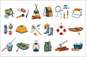 Camping Icon Set. Tourist Equipment Tent, Map, Compass. Items For Fishing Rod, Hooks, Boats. Fisherm poster