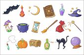 Halloween Magic Signs Set, Wizard Hat, Magic Book, Potion, Broom, Crystal Ball, Chest, Hourglass, Pu poster