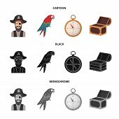 Pirate, Bandit, Hat, Bandage .pirates Set Collection Icons In Cartoon, Black, Monochrome Style Vecto poster