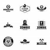 Zombie Apocalypse Logo Set. Simple Set Of 9 Zombie Apocalypse Vector Logo For Web Isolated On White  poster