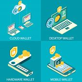 Cryptocurrency Wallet Icon Set. Vector Isometric Illustration. Cloud Wallet, Desktop Wallet, Hardwar poster