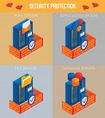 Vector Isometric Security Protection Icon Set. Mail Servers, Application Servers, File Servers And D poster