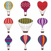 Hot Air Balloons Colorful Set. Vintage Gas Balloons With Different Shapes And Patterns. Air Craft Ad poster