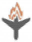 Halftone Hexagonal Air Crash Icon. Pictogram On A White Background. Vector Pattern Of Air Crash Icon poster