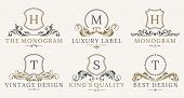 Retro Royal Vintage Shields Logotype Set. Vector Calligraphyc Luxury Logo Design Elements. Business  poster