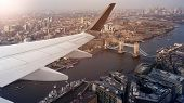 Aerial panoramic cityscape view of London and the River Thames with tower Bridge, Tower of London an poster