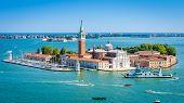 Venice Skyline, Italy. San Giorgio Maggiore Island In Sunny Venice. Landscape And Seascape Of Venice poster